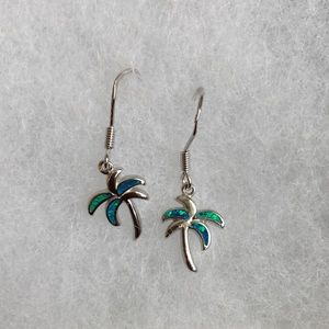 Sterling Silver Earrings with Lab Opal- Palm Trees